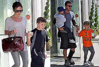 Pictures of David Beckham, Victoria Beckham, Romeo, Brooklyn, and Cruz Going to Pinkberry in LA