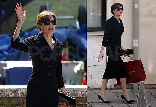 Pictures of Angelina Jolie Filming The Tourist Dressed Up in Venice