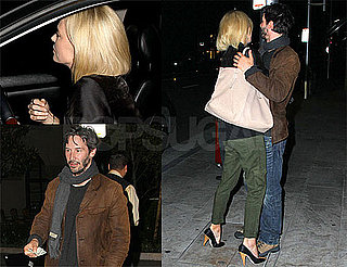 Pictures of Keanu Reeves and Charlize Theron Hugging and Kissing After Dinner in LA