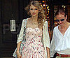 Slide Picture of Taylor Swift Wearing a Bow Necklace and Floral Dress in NYC