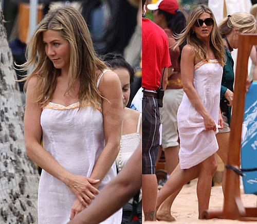 Pictures of Jennifer Aniston in a White Dress Filming in Hawaii