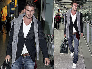Pictures of David Beckham Arriving in London Without His Foot Brace