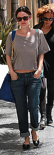 Rachel Bilson Wears Anlo Boyfriend Jeans and Blue Derek Lam Chain Link Purse in LA
