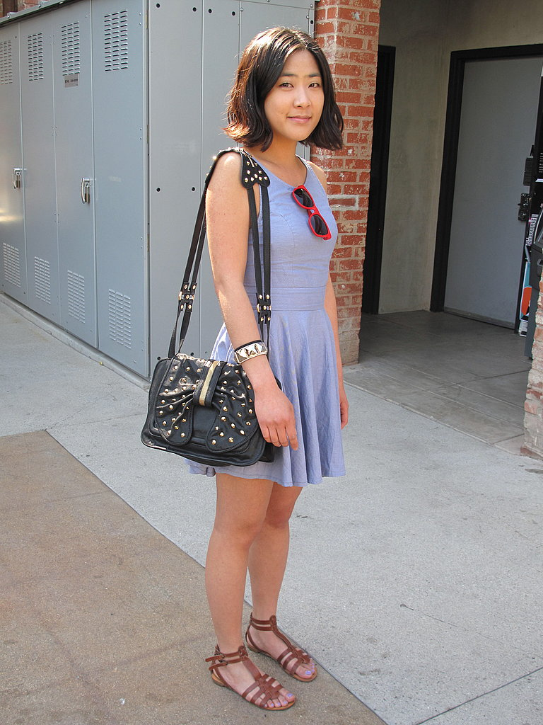 This LA girl's Phillip Lim studded bow bag added snazzy to her style.