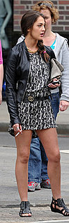 Roxy Olin Wears Snakeskin Dress With Gucci Belt in West Village NYC