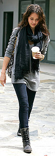 Jessica Alba Wears Jeggings and Lace-Up Boots in LA