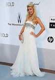 Paris Hilton looks like a fairytale in her white strapless embellished gown.