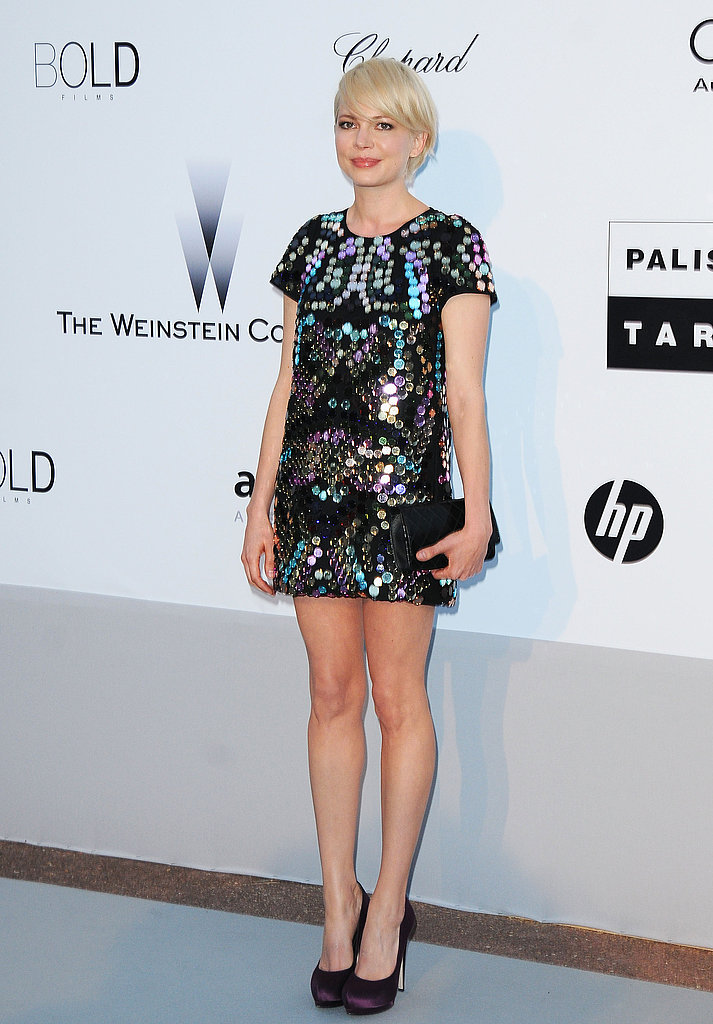 Michelle Williams went the mini route in a colorful, embellished Sonia Rykiel frock.