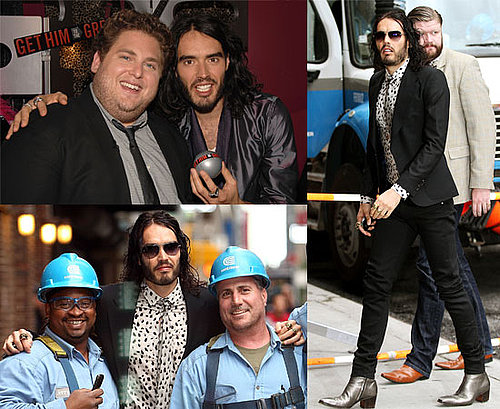 Pictures and Watch Video of Russell Brand Promoting Get Him to the Greek on David Letterman Show Plus Jonah Hill