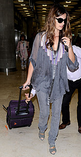 Penelope Cruz in Elizabeth and James Top at the Madrid Airport
