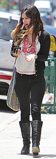 Rachel Bilson Wears Black Jeans and Embroidered Top in LA
