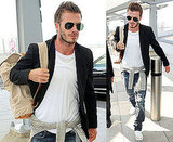 Pictures of David Beckham at Heathrow Airport After Visiting the Troops