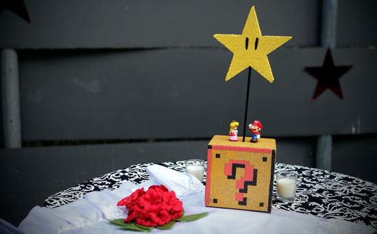 Photos of the Super Mario Wedding Centerpieces