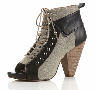 Topshop Armour Peep Lace-Up Cuff Boots