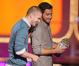 Justin Timberlake shared a laugh with Jake Gyllenhaal in 2006 after presenting him with an award for best kiss in Brokeback Mountain.