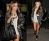 Miley Cyrus in London Wearing a Feather Cardigan by Winter Kate and Alexander Wang Shoes