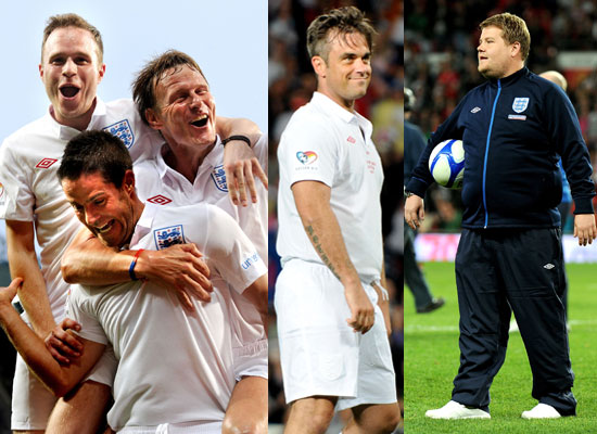 Pictures of Soccer Aid 2010 Match Robbie Williams, James Corden, Olly, Michael Sheen, Gordon Ramsay, Mike Myers, Woody Harrelson 2010-06-07 21:30:49