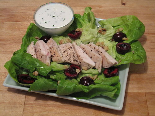Fast and Easy Recipe For Chicken and Cherry Salad With Goat Cheese Dressing