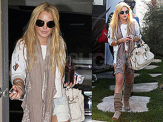 Pictures of Lindsay Lohan Covering Her SCRAM After Her Bikini Photo Shoot
