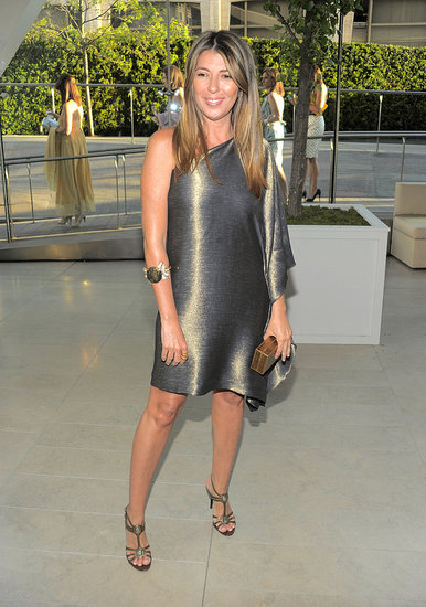 Nina's Michael Kors silky bronze dress is awesome, and her jewelry picks are always eye candy.
