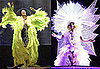Diana Ross Wears Neon Yellow Feather Coat and Lady Gaga Wears Huge White Snowflake Costume