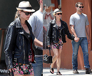 Diane Kruger in Venice Beach Wearing a Floral Dress, Leather Jacket, and Fedora