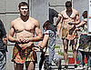 Pictures of Kellan Lutz Shirtless And Wearing a Loincloth on The Set of Immortals