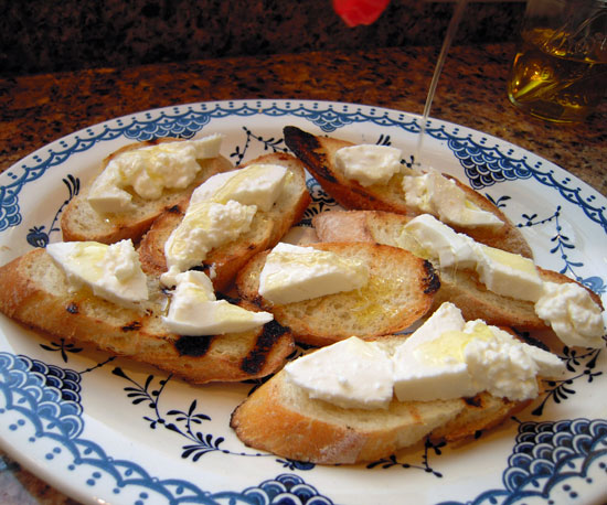 Grilled Bruschetta With Burrata, Honey, and Citrus Oil