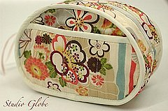 Kimono print cosmetic zipper pouch