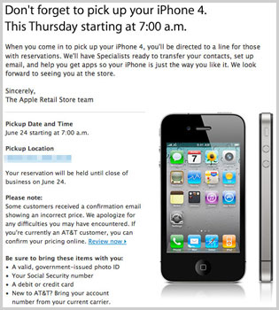 iPhone 4 Launch Time