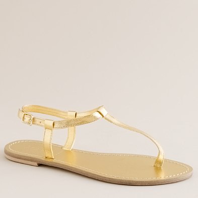 Tabitha Metallic Leather T-strap Sandals ($42, originally $88)