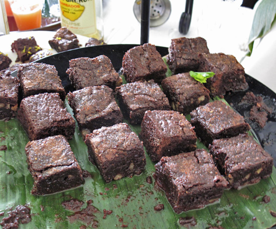 Rum-soaked brownies