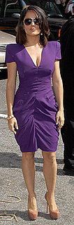 Salma Hayek Wears Purple Alexander McQueen to David Letterman in NYC