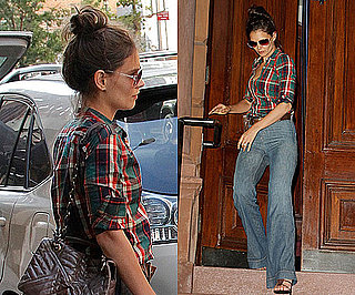 Photos of Katie Holmes in New York in Blue Flare Jeans and Checked Shirt