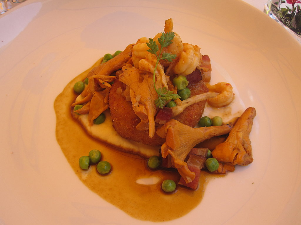 The final course was crispy veal sweetbreads paneé with crawfish, sweet peas, and two artichoke puree. While I would never in a million years dream of combining these ingredients, they came together spectacularly. The choke puree was so good I wanted to lick the plate.