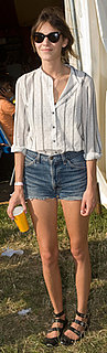 Alexa Chung Wears Jean Shorts at Glastonbury