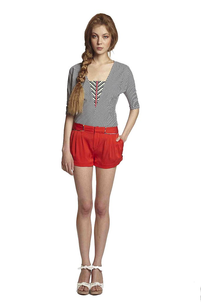Red tap shorts and Aztec stripes are as nautical as Mara's going to get.