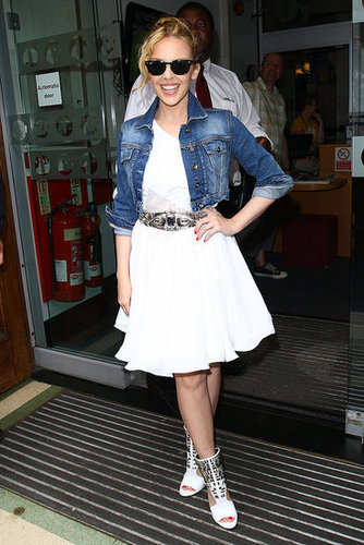 Photos of Kylie Minogue in London wearing a Topshop Denim Jacket and Dress