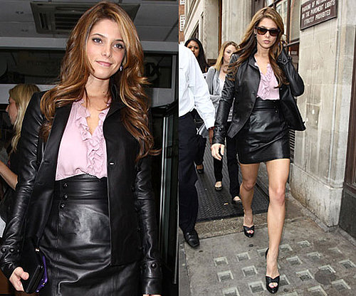 Ashley Greene Wearing Lilac Ruffle Blouse and Leather Skirt
