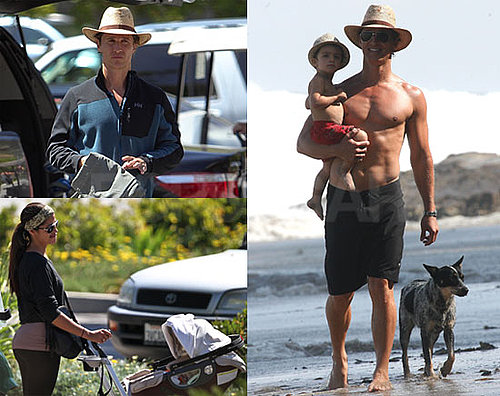 Pictures of Matthew McConaughey Shirtless With Levi and Golfing
