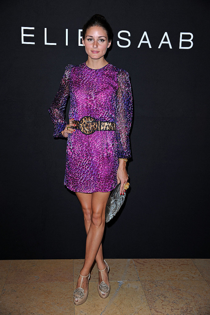 Olivia Palermo mixed prints at the Elie Saab show.