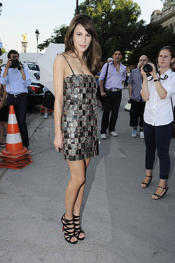 Caroline Sieber wore a patterned dress and Christian Louboutin sandals at the Chanel show.