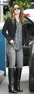Rachel Bilson Wears Gray Jeans, Boots, and Floral Top in LA