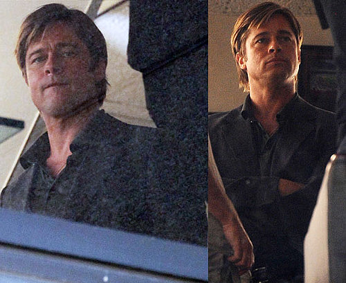 Pictures of Clean Shaven Brad Pitt Filming Moneyball in Los Angeles