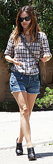 Rachel Bilson Wears Plaid Shirt and Clogs