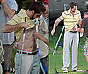 Pictures of Zachary Levi Flashing His Stomach on a Golf Course