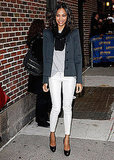 For a December 2009 NYC visit, Zoe went cool and casual in white denim.