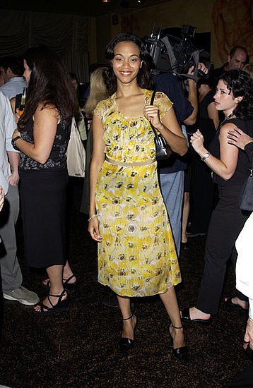 Zoe in yellow prints at a Premiere magazine party in '01.