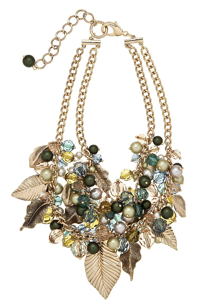 Leaf and Beaded Dangle Necklace