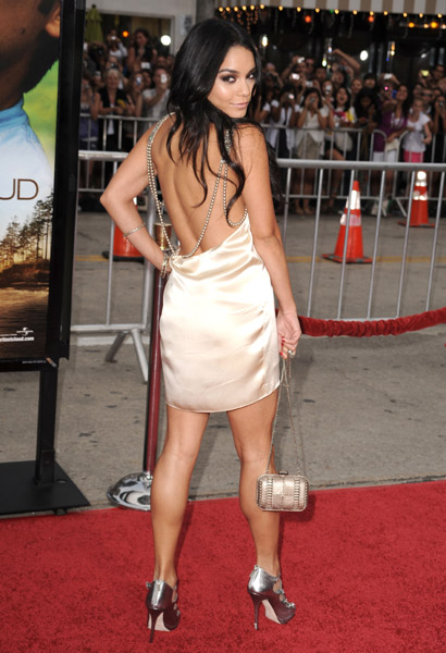 Vanessa feeling sexy in a champagne silk cocktail dress with pearl detailing by Reem Acra and Jimmy Choo titus sandals. Work it, own it.